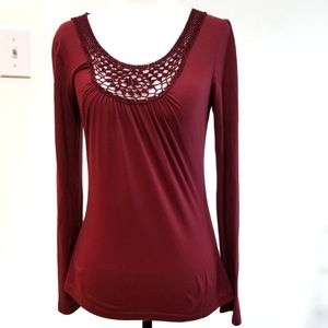 Charlotte Russe Burgundy Long Sleeves Small Top